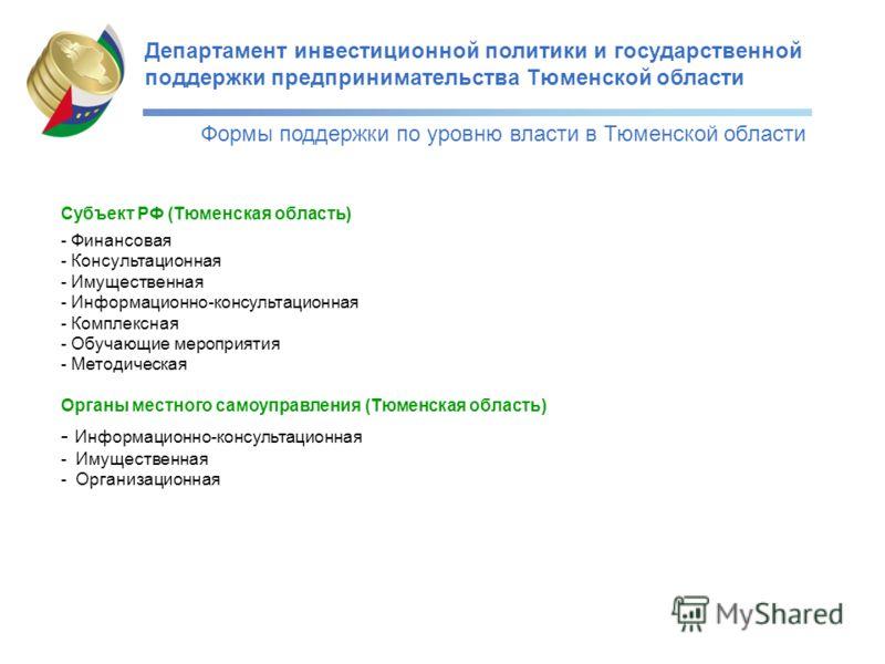 Департамент инвестиционной политики и государственной поддержки предпринимательства Тюменской области Формы поддержки по уровню власти в Тюменской области Субъект РФ (Тюменская область) - Финансовая - Консультационная - Имущественная - Информационно-