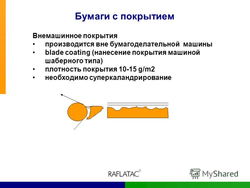 Бумаги с покрытием Внемашинное покрытия производится вне бумагоделательной машины blade coating (нанесение покрытия машиной шаберного типа) плотность покрытия 10-15 g/m2 необходимо суперкаландрирование