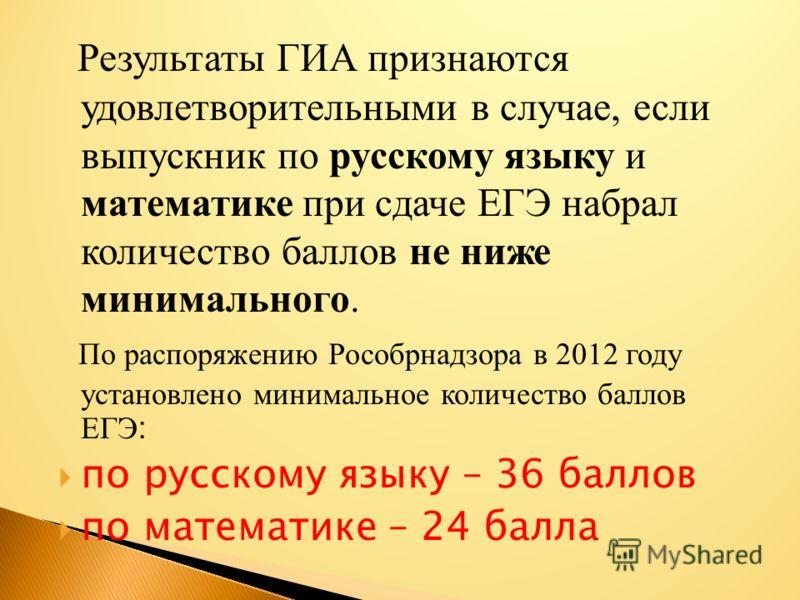 Результаты ГИА признаются удовлетворительными в случае, если выпускник по русскому языку и математике при сдаче ЕГЭ набрал количество баллов не ниже минимального. По распоряжению Рособрнадзора в 2012 году установлено минимальное количество баллов ЕГЭ