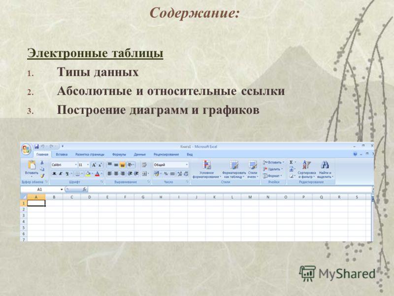 Содержание: Электронные таблицы 1. Типы данных 2. Абсолютные и относительные ссылки 3. Построение диаграмм и графиков