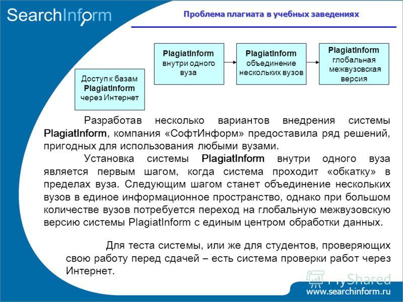 Проблема плагиата в учебных заведениях www.searchinform.ru Разработав несколько вариантов внедрения системы PlagiatInform, компания «СофтИнформ» предоставила ряд решений, пригодных для использования любыми вузами. Установка системы PlagiatInform внут