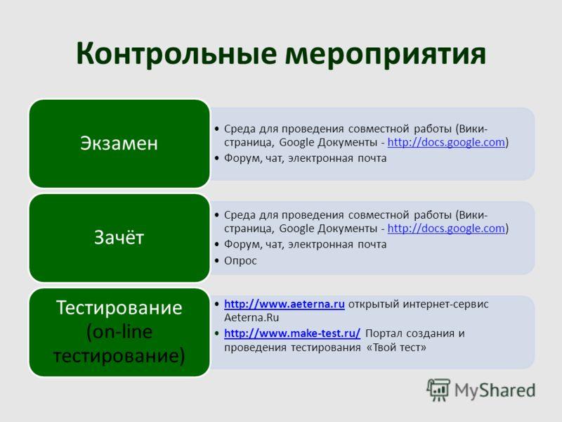 Контрольные мероприятия Среда для проведения совместной работы (Вики- страница, Google Документы - http://docs.google.com)http://docs.google.com Форум, чат, электронная почта Экзамен Среда для проведения совместной работы (Вики- страница, Google Доку