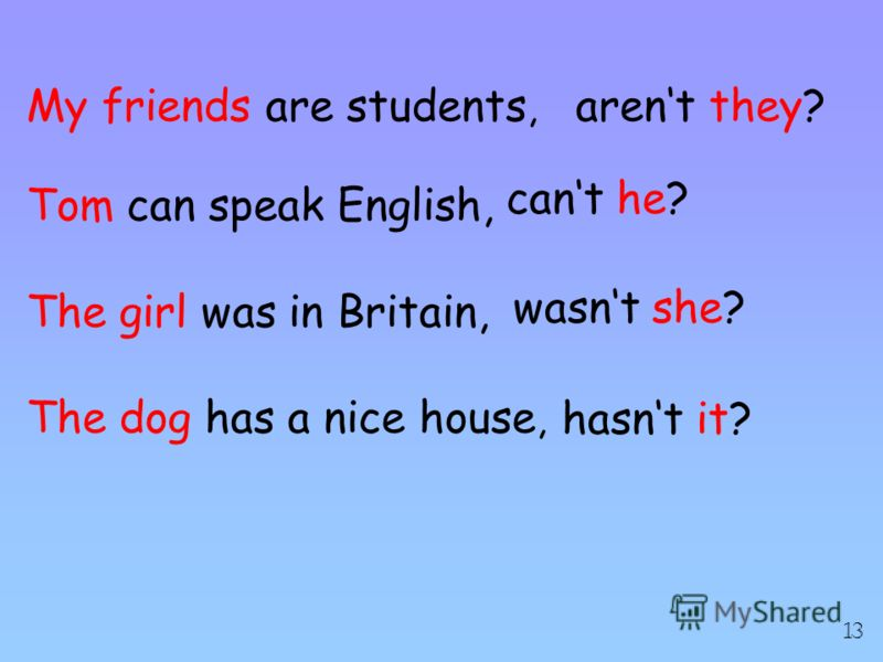 My friends are students, Tom can speak English, The girl was in Britain, The dog has a nice house, arent they? cant he? wasnt she? hasnt it? 13