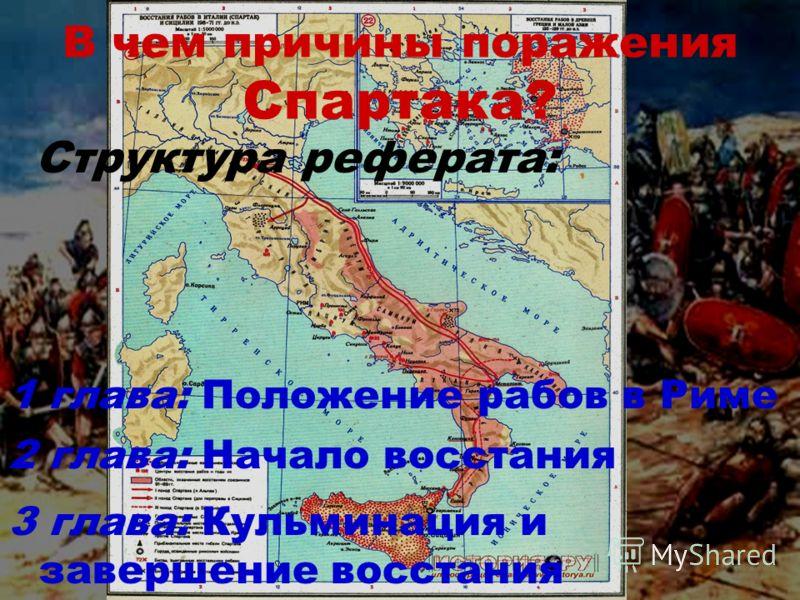 В чем причины поражения Спартака? 3 глава: Кульминация и завершение восстания 1 глава: Положение рабов в Риме 2 глава: Начало восстания Структура реферата: