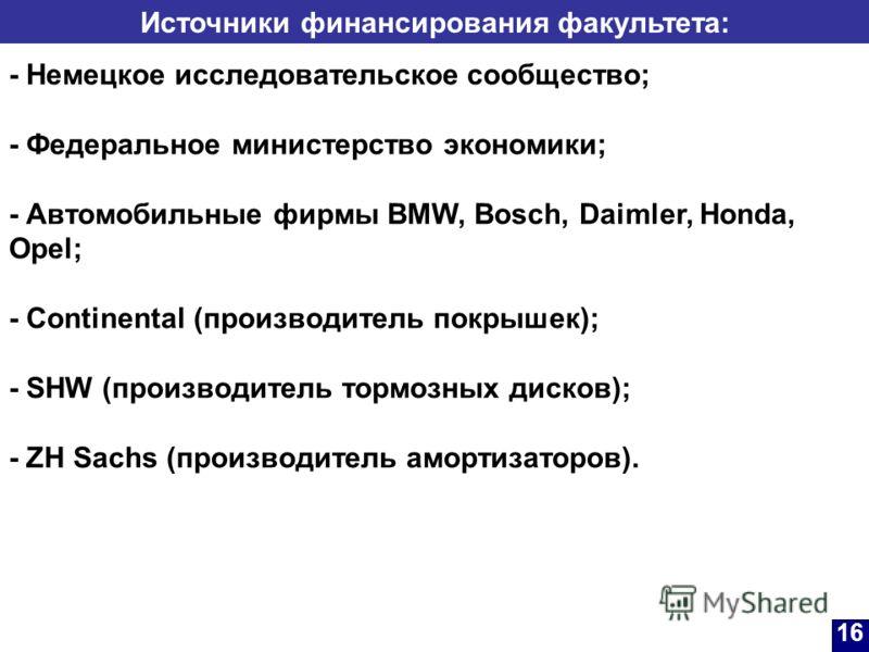 Источники финансирования факультета: - Немецкое исследовательское сообщество; - Федеральное министерство экономики; - Автомобильные фирмы BMW, Bosch, Daimler, Honda, Opel; - Continental (производитель покрышек); - SHW (производитель тормозных дисков)