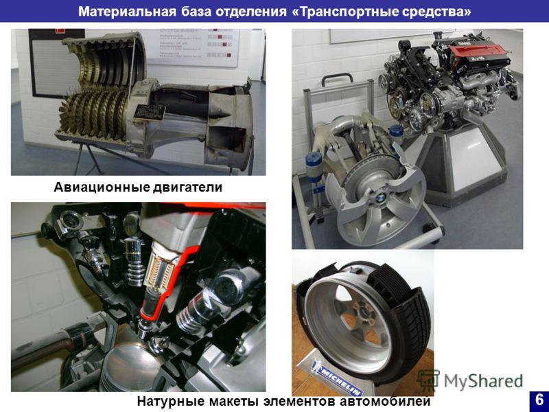 Материальная база отделения «Транспортные средства» Натурные макеты элементов автомобилей Авиационные двигатели 6