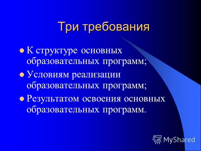 Три требования К структуре основных образовательных программ; Условиям реализации образовательных программ; Результатом освоения основных образовательных программ.
