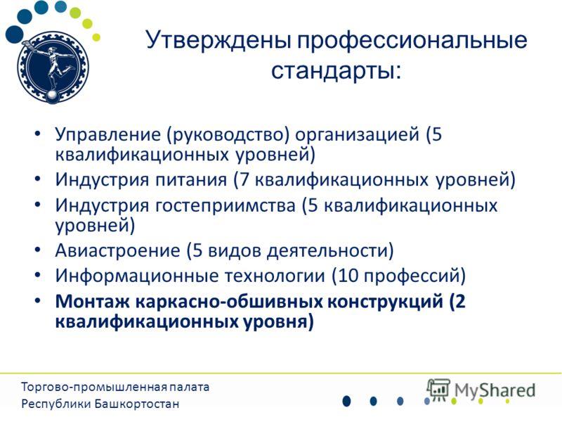 Утверждены профессиональные стандарты: Управление (руководство) организацией (5 квалификационных уровней) Индустрия питания (7 квалификационных уровней) Индустрия гостеприимства (5 квалификационных уровней) Авиастроение (5 видов деятельности) Информа