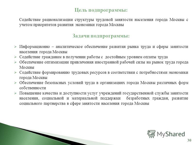 Цель подпрограммы: Содействие рационализации структуры трудовой занятости населения города Москвы с учетом приоритетов развития экономики города Москвы Задачи подпрограммы: Информационно – аналитическое обеспечение развития рынка труда и сферы занято