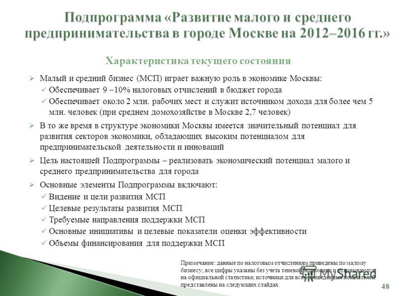 Малый и средний бизнес (МСП) играет важную роль в экономике Москвы: Обеспечивает 9 –10% налоговых отчислений в бюджет города Обеспечивает около 2 млн. рабочих мест и служит источником дохода для более чем 5 млн. человек (при среднем домохозяйстве в М