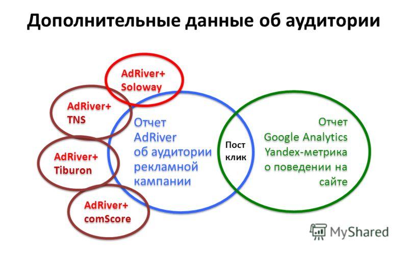 Дополнительные данные об аудитории Отчет AdRiver об аудитории рекламной кампании Отчет AdRiver об аудитории рекламной кампании Отчет Google Analytics Yandex-метрика о поведении на сайте Отчет Google Analytics Yandex-метрика о поведении на сайте AdRiv