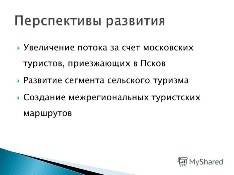 Увеличение потока за счет московских туристов, приезжающих в Псков Развитие сегмента сельского туризма Создание межрегиональных туристских маршрутов