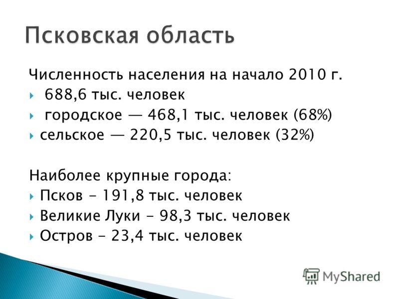 Численность населения на начало 2010 г. 688,6 тыс. человек городское 468,1 тыс. человек (68%) сельское 220,5 тыс. человек (32%) Наиболее крупные города: Псков - 191,8 тыс. человек Великие Луки - 98,3 тыс. человек Остров - 23,4 тыс. человек