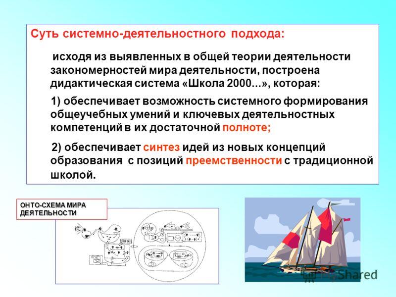 Суть СДП Суть системно-деятельностного подхода: исходя из выявленных в общей теории деятельности закономерностей мира деятельности, построена дидактическая система «Школа 2000...», которая: 1) обеспечивает возможность системного формирования общеучеб