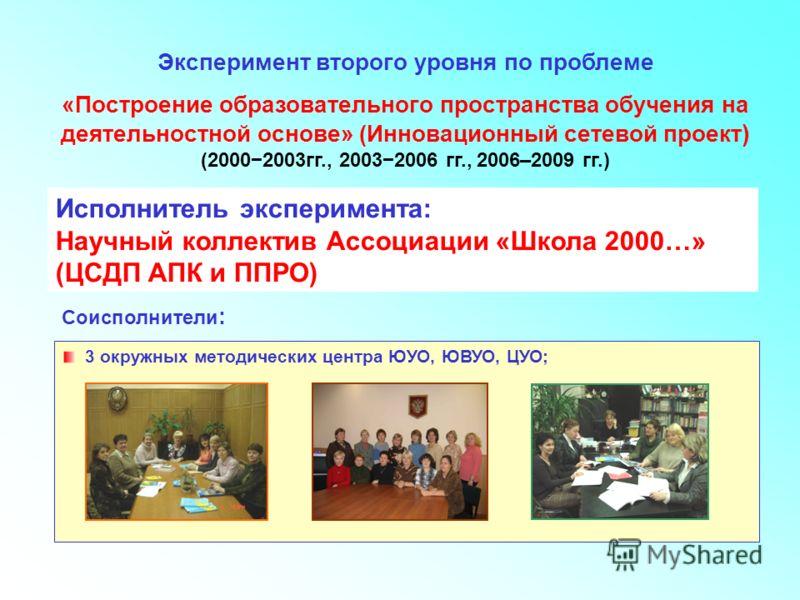 Исполнитель-соисполнители Эксперимент второго уровня по проблеме «Построение образовательного пространства обучения на деятельностной основе» (Инновационный сетевой проект ) (20002003гг., 20032006 гг., 2006–2009 гг.) Исполнитель эксперимента: Научный