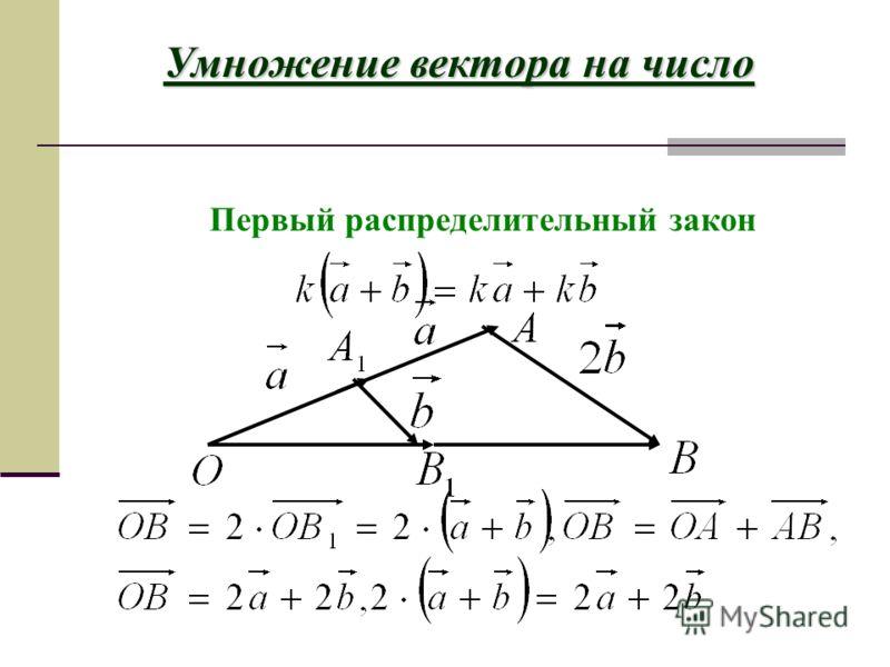 Сочетательный закон Умножение вектора на число