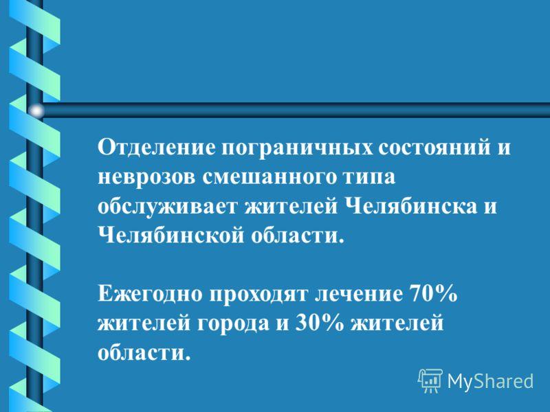 Отделение пограничных состояний и неврозов смешанного типа обслуживает жителей Челябинска и Челябинской области. Ежегодно проходят лечение 70% жителей города и 30% жителей области.