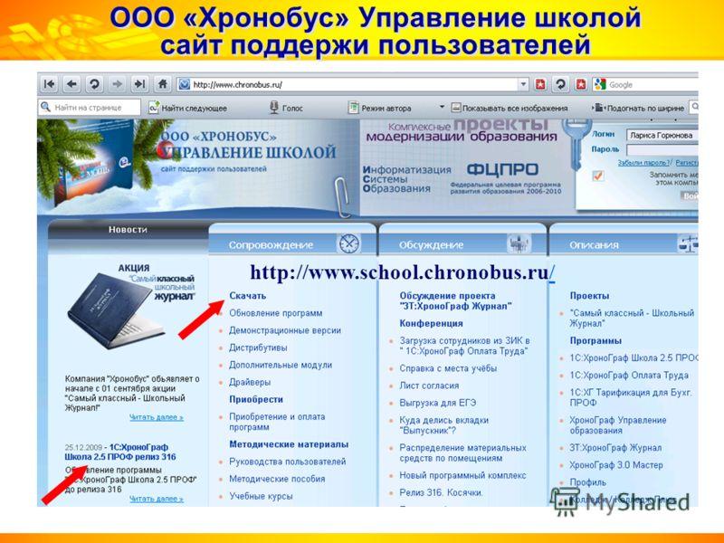 ООО «Хронобус» Управление школой сайт поддержи пользователей http://www.school.chronobus.ru//