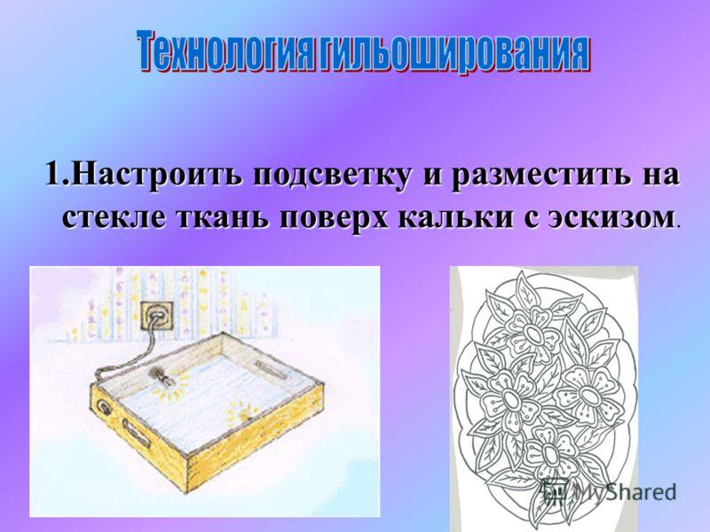 1.Настроить подсветку и разместить на стекле ткань поверх кальки с эскизом стекле ткань поверх кальки с эскизом..