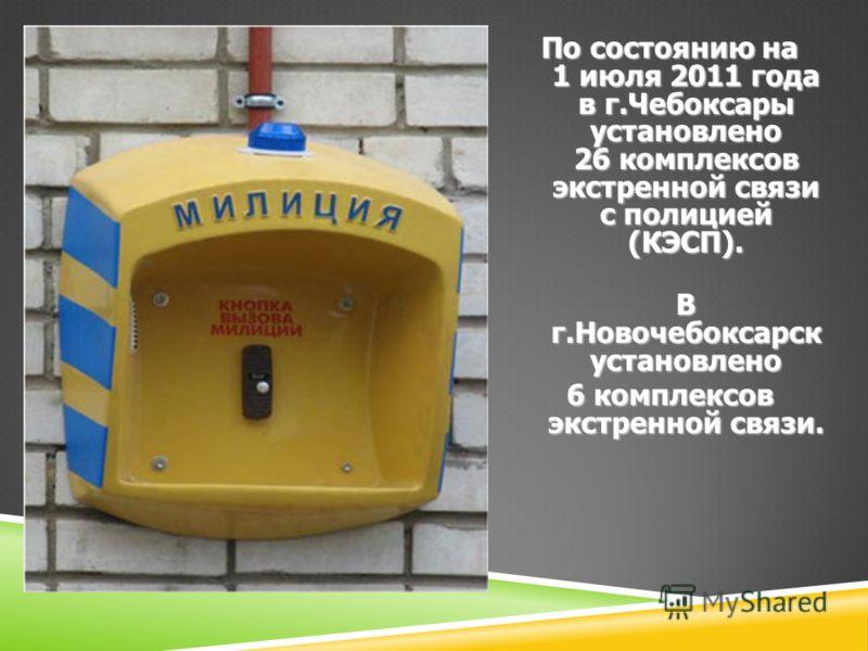 По состоянию на 1 июля 2011 года в г.Чебоксары установлено 26 комплексов экстренной связи с полицией (КЭСП). В г.Новочебоксарск установлено 6 комплексов экстренной связи.