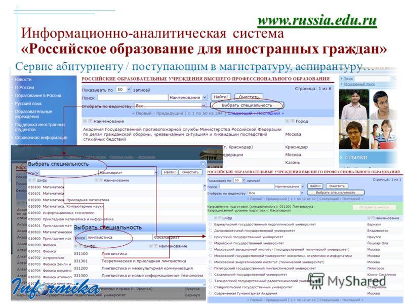 Информационно-аналитическая система «Российское образование для иностранных граждан» www.russia.edu.ru Сервис абитуриенту / поступающим в магистратуру, аспирантуру…