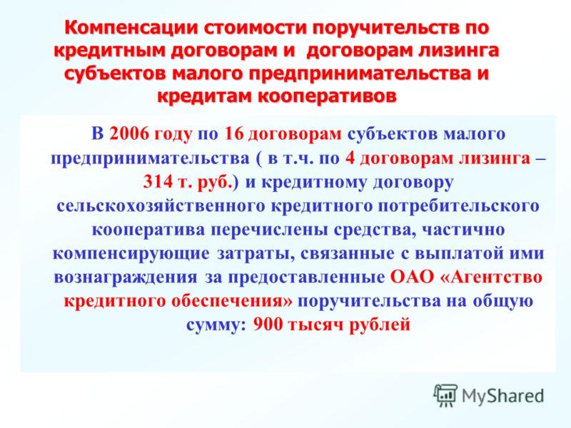 В 2006 году по 16 договорам субъектов малого предпринимательства ( в т.ч. по 4 договорам лизинга – 314 т. руб.) и кредитному договору сельскохозяйственного кредитного потребительского кооператива перечислены средства, частично компенсирующие затраты,