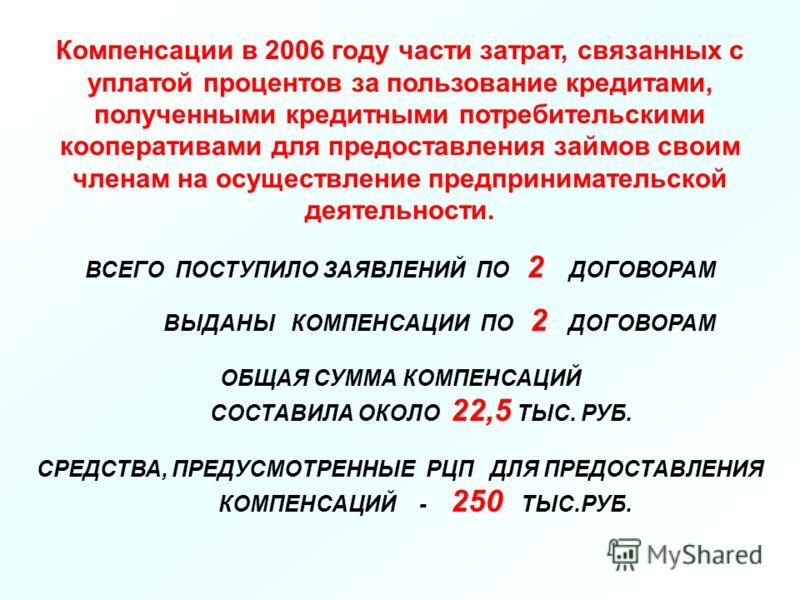 Компенсации в 2006 году части затрат, связанных с уплатой процентов за пользование кредитами, полученными кредитными потребительскими кооперативами для предоставления займов своим членам на осуществление предпринимательской деятельности. ВСЕГО ПОСТУП