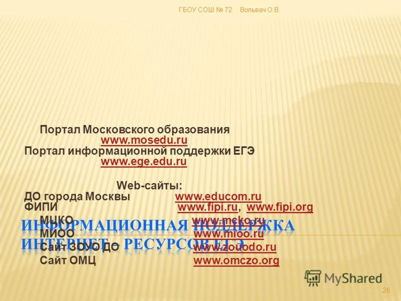 Портал Московского образования www.mosedu.ru Портал информационной поддержки ЕГЭ www.ege.edu.ruwww.mosedu.ruwww.ege.edu.ru Web-сайты: ДО города Москвы www.educom.ru ФИПИ www.fipi.ru, www.fipi.orgwww.educom.ruwww.fipi.ruwww.fipi.org МЦКО www.mcko.ruww