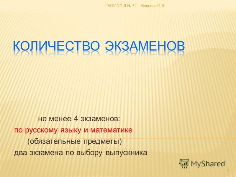 не менее 4 экзаменов: по русскому языку и математике (обязательные предметы) два экзамена по выбору выпускника 3 ГБОУ СОШ 72 Вольвач О.В.