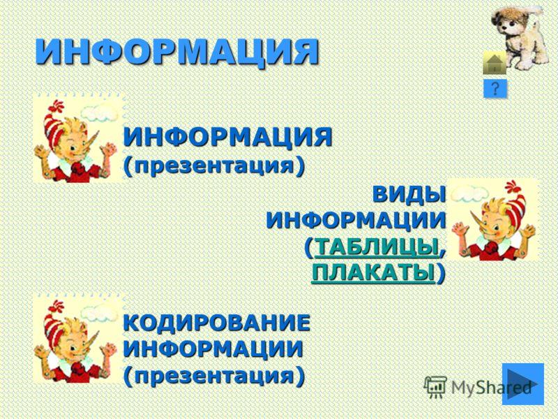 ИНФОРМАЦИЯИНФОРМАЦИЯ ИНФОРМАЦИЯ(презентация) КОДИРОВАНИЕИНФОРМАЦИИ(презентация) ВИДЫИНФОРМАЦИИ (ТАБЛИЦЫ, ТАБЛИЦЫ ПЛАКАТЫПЛАКАТЫ) ПЛАКАТЫ
