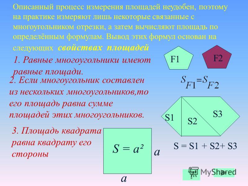 С 1см Е D При выбранной единице измерения площадей площадь каждого многоугольника выражается положительным числом. Это число показывает, сколько раз единица измерения и её части укладываются в данном многоугольнике. В А С D E 1см S = 6см² 1см S 2,13