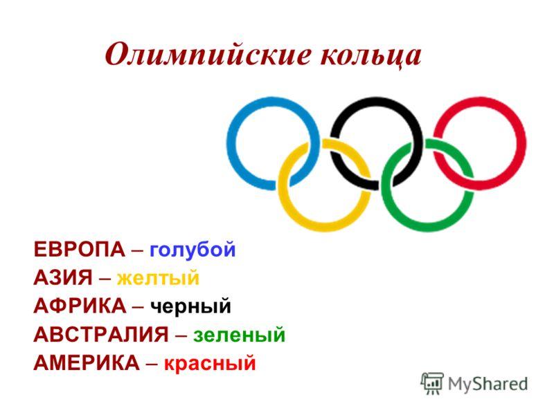 Олимпийские кольца ЕВРОПА – голубой АЗИЯ – желтый АФРИКА – черный АВСТРАЛИЯ – зеленый АМЕРИКА – красный