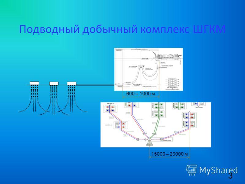 Подводный добычный комплекс ШГКМ 3 600 – 1000 м 15000 – 20000 м