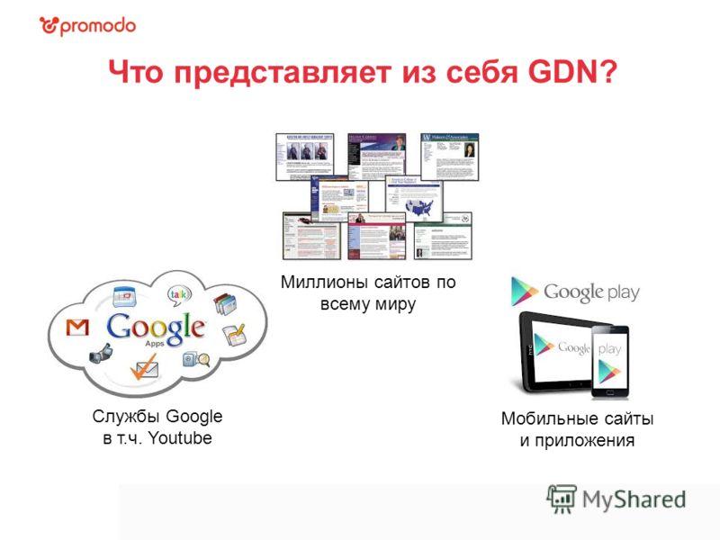 Что представляет из себя GDN? Миллионы сайтов по всему миру Мобильные сайты и приложения Службы Google в т.ч. Youtube