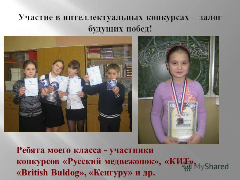 Ребята моего класса - участники конкурсов «Русский медвежонок», «КИТ», «British Buldog», «Кенгуру» и др.