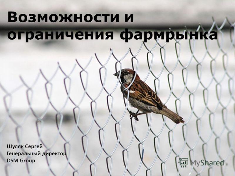 Возможности и ограничения фармрынка Шуляк Сергей Генеральный директор DSM Group