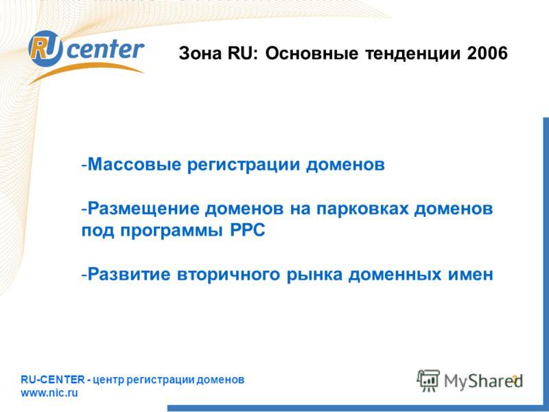 RU-CENTER - центр регистрации доменов www.nic.ru 3 Зона RU: Основные тенденции 2006 -Массовые регистрации доменов -Размещение доменов на парковках доменов под программы PPC -Развитие вторичного рынка доменных имен