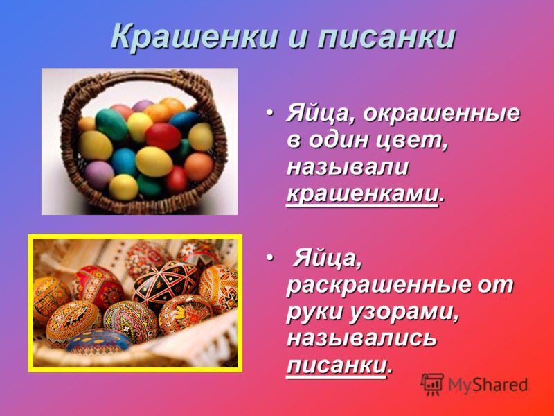 Крашенки и писанки Яйца, окрашенные в один цвет, называли крашенками.Яйца, окрашенные в один цвет, называли крашенками. Яйца, раскрашенные от руки узорами, назывались писанки. Яйца, раскрашенные от руки узорами, назывались писанки.