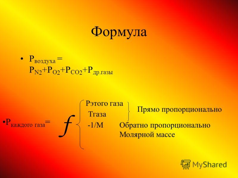 Формула Р воздуха = P N 2 +P O 2 +P CO 2 +P др.газы Pэтого газа Тгаза Прямо пропорционально -1/MОбратно пропорционально Молярной массе f P каждого газа =