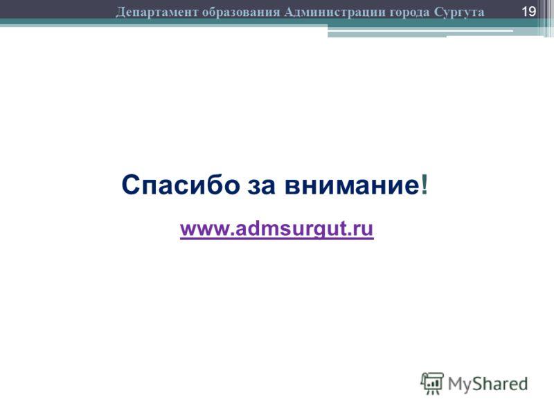 19 Спасибо за внимание! www.admsurgut.ru Департамент образования Администрации города Сургута