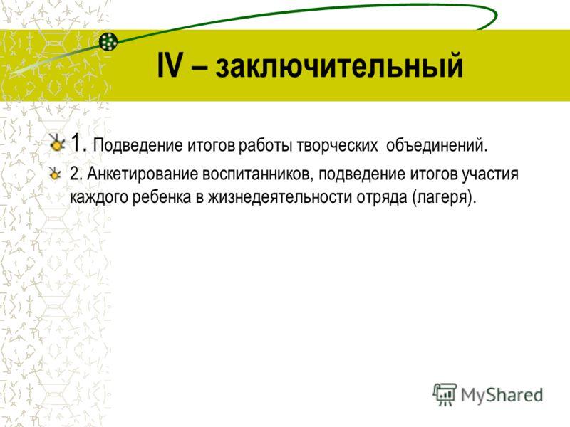IV – заключительный 1. Подведение итогов работы творческих объединений. 2. Анкетирование воспитанников, подведение итогов участия каждого ребенка в жизнедеятельности отряда (лагеря).