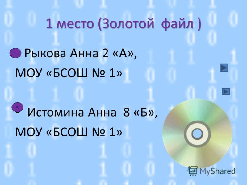 1 место (Золотой файл ) Рыкова Анна 2 «А», МОУ «БСОШ 1» Истомина Анна 8 «Б», МОУ «БСОШ 1»