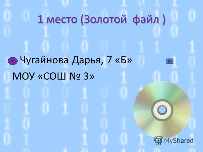 Чугайнова Дарья, 7 «Б» МОУ «СОШ 3» 1 место (Золотой файл )
