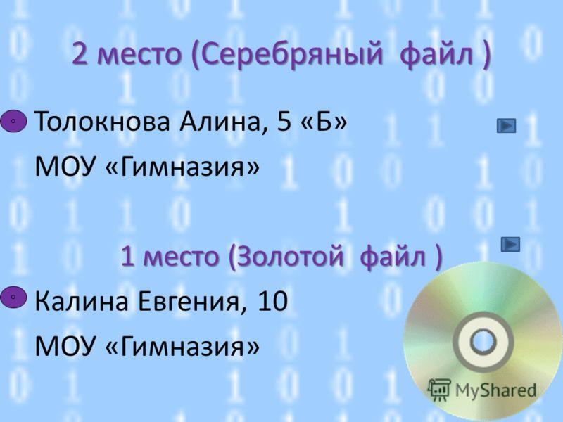 Толокнова Алина, 5 «Б» МОУ «Гимназия» 1 место (Золотой файл ) Калина Евгения, 10 МОУ «Гимназия» 2 место (Серебряный файл )