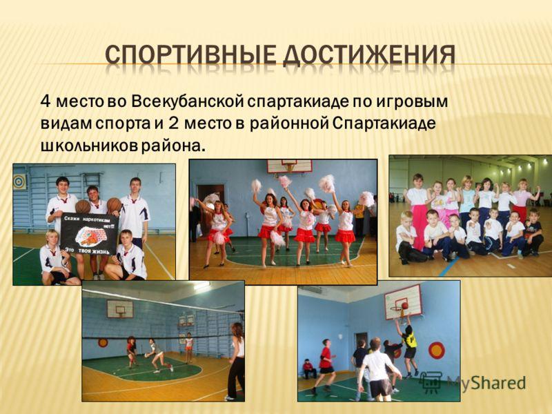4 место во Всекубанской спартакиаде по игровым видам спорта и 2 место в районной Спартакиаде школьников района.