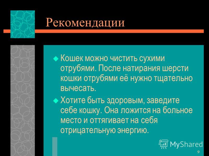 8 Возможные выходы Со «Словом о кошках» можно выступать перед родителями и учениками младшего и среднего звена. Материал проекта можно использовать на уроках русского языка, литературы, биологии.