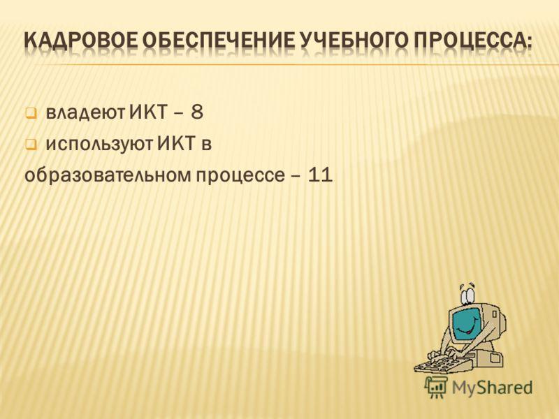 владеют ИКТ – 8 используют ИКТ в образовательном процессе – 11