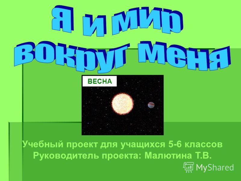 Учебный проект для учащихся 5-6 классов Руководитель проекта: Малютина Т.В. ВЕСНА