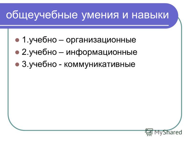 общеучебные умения и навыки 1.учебно – организационные 2.учебно – информационные 3.учебно - коммуникативные
