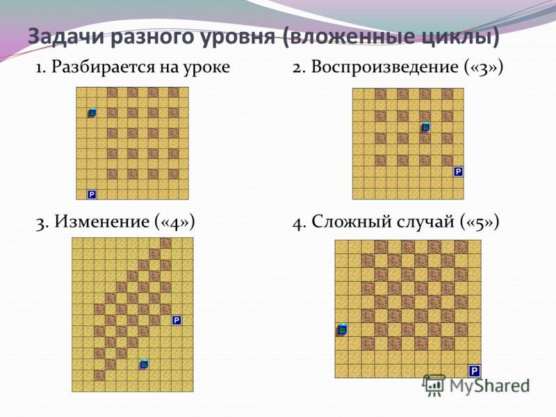 Задачи разного уровня (вложенные циклы) 1. Разбирается на уроке2. Воспроизведение («3») 3. Изменение («4»)4. Сложный случай («5»)